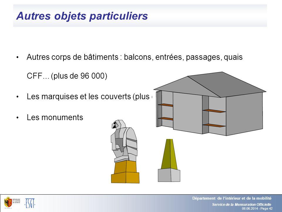 08.06.2014 - Page 42 Autres objets particuliers Autres corps de bâtiments : balcons, entrées, passages, quais CFF... (plus de 96 000) Les marquises et