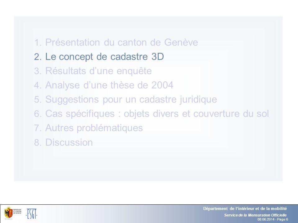 08.06.2014 - Page 6 Service de la Mensuration Officielle Département de lintérieur et de la mobilité 1. Présentation du canton de Genève 2. Le concept