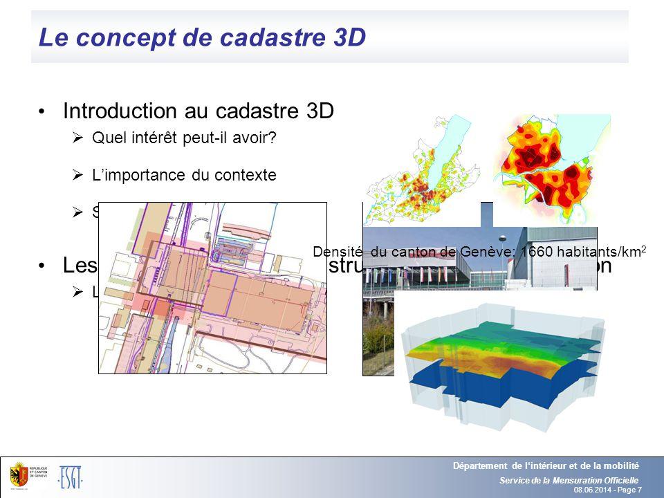 08.06.2014 - Page 7 Le concept de cadastre 3D Introduction au cadastre 3D Quel intérêt peut-il avoir? Limportance du contexte Sa composition Les probl