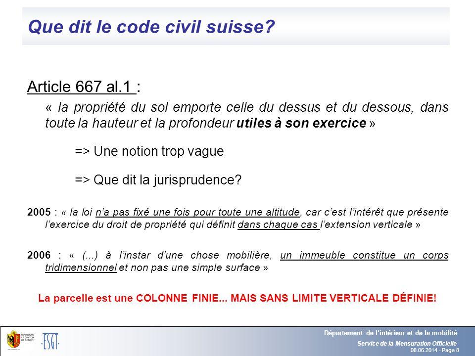 08.06.2014 - Page 8 Que dit le code civil suisse? Article 667 al.1 : « la propriété du sol emporte celle du dessus et du dessous, dans toute la hauteu