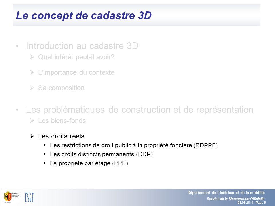08.06.2014 - Page 9 Le concept de cadastre 3D Introduction au cadastre 3D Quel intérêt peut-il avoir? Limportance du contexte Sa composition Les probl