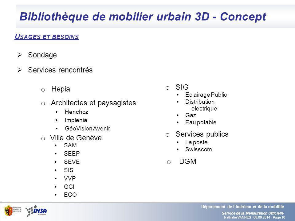 Nathalie VANNES - 08.06.2014 - Page 10 Bibliothèque de mobilier urbain 3D - Concept Service de la Mensuration Officielle Département de lintérieur et