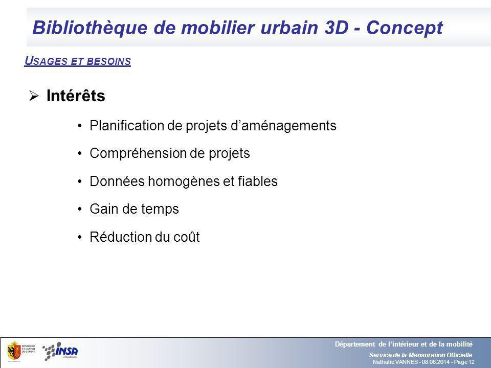 Nathalie VANNES - 08.06.2014 - Page 12 Bibliothèque de mobilier urbain 3D - Concept Service de la Mensuration Officielle Département de lintérieur et