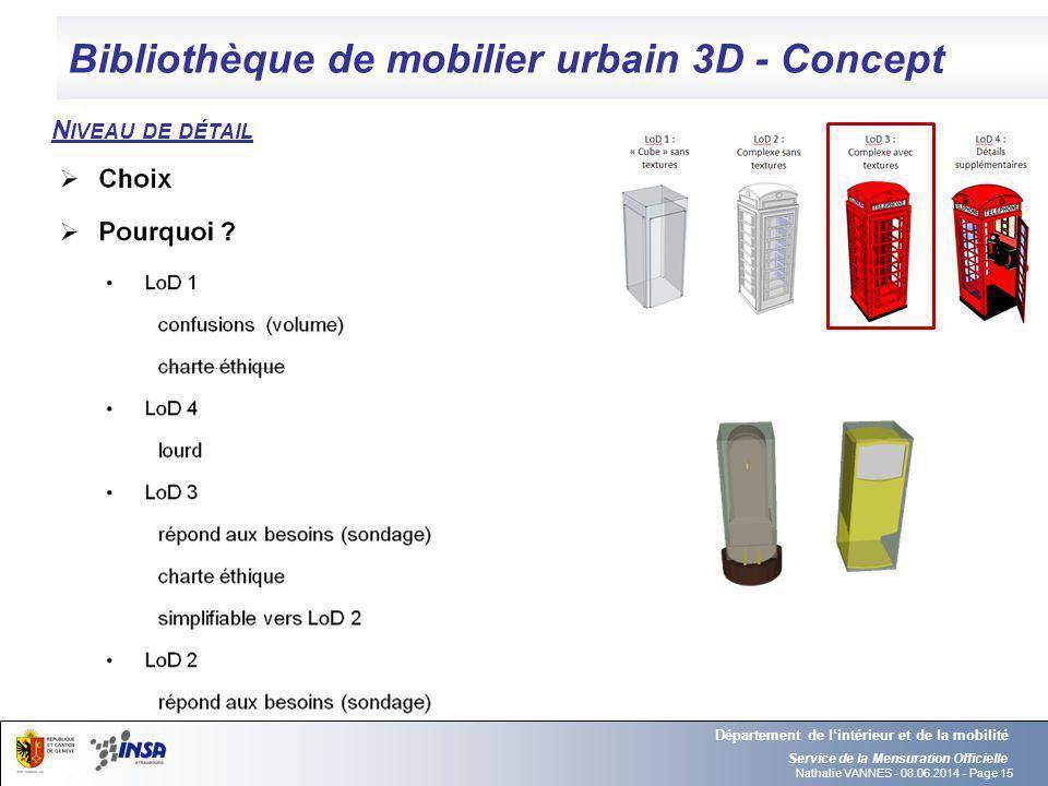 Nathalie VANNES - 08.06.2014 - Page 15 Bibliothèque de mobilier urbain 3D - Concept Service de la Mensuration Officielle Département de lintérieur et