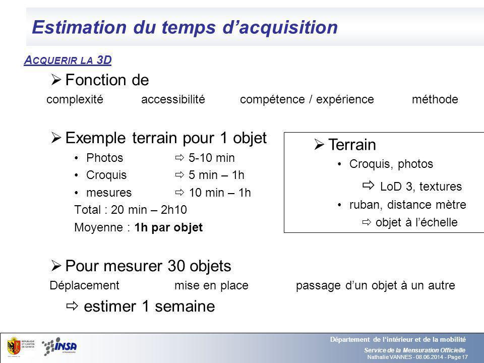 Nathalie VANNES - 08.06.2014 - Page 17 Estimation du temps dacquisition Service de la Mensuration Officielle Département de lintérieur et de la mobili