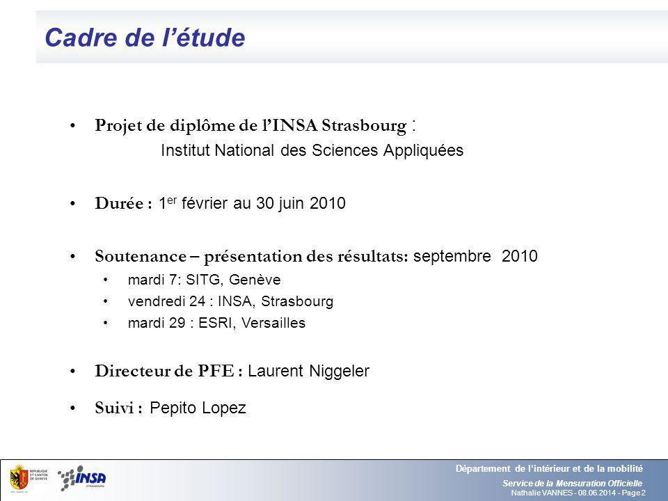 Nathalie VANNES - 08.06.2014 - Page 2 Cadre de létude Service de la Mensuration Officielle Département de lintérieur et de la mobilité Projet de diplô