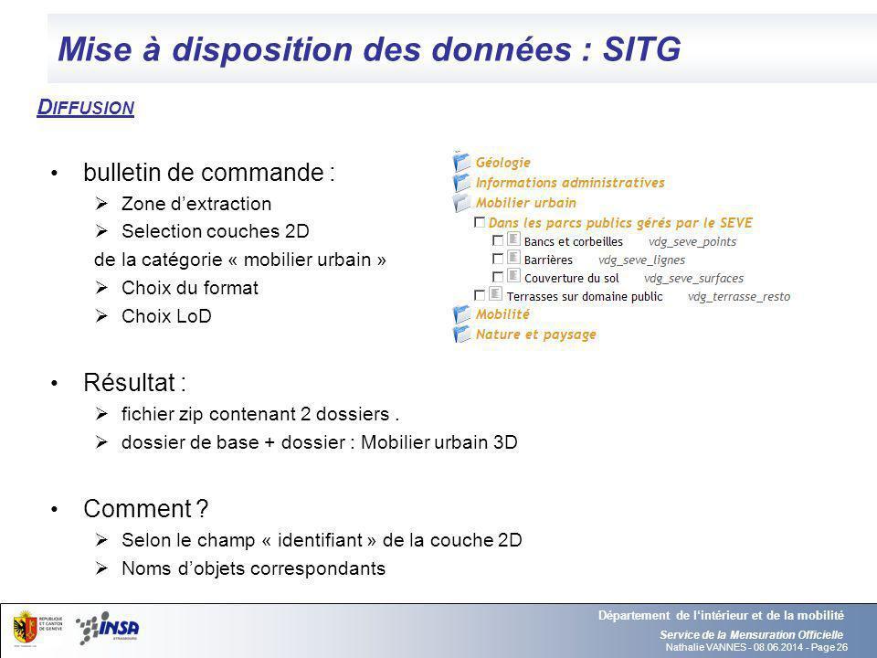 Nathalie VANNES - 08.06.2014 - Page 26 Mise à disposition des données : SITG Service de la Mensuration Officielle Département de lintérieur et de la m