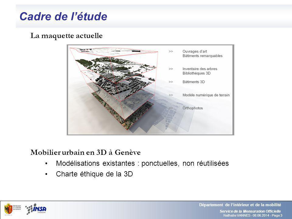 Nathalie VANNES - 08.06.2014 - Page 3 Cadre de létude Service de la Mensuration Officielle Département de lintérieur et de la mobilité La maquette act