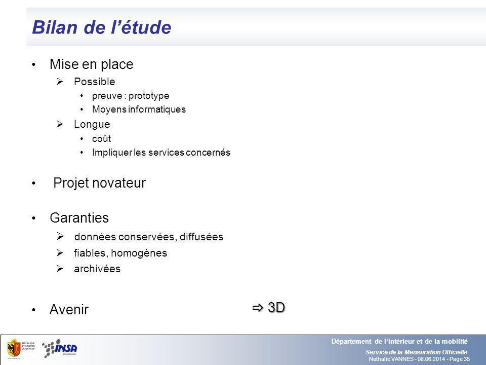 Nathalie VANNES - 08.06.2014 - Page 35 Bilan de létude Service de la Mensuration Officielle Département de lintérieur et de la mobilité Mise en place