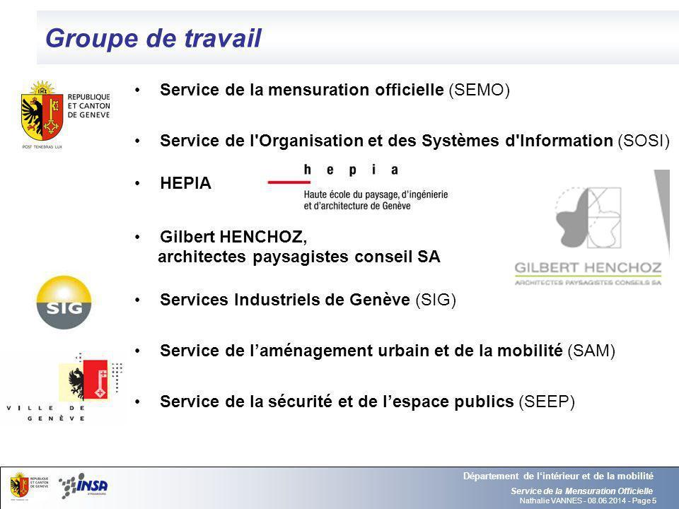 Nathalie VANNES - 08.06.2014 - Page 5 Groupe de travail Service de la Mensuration Officielle Département de lintérieur et de la mobilité Service de la