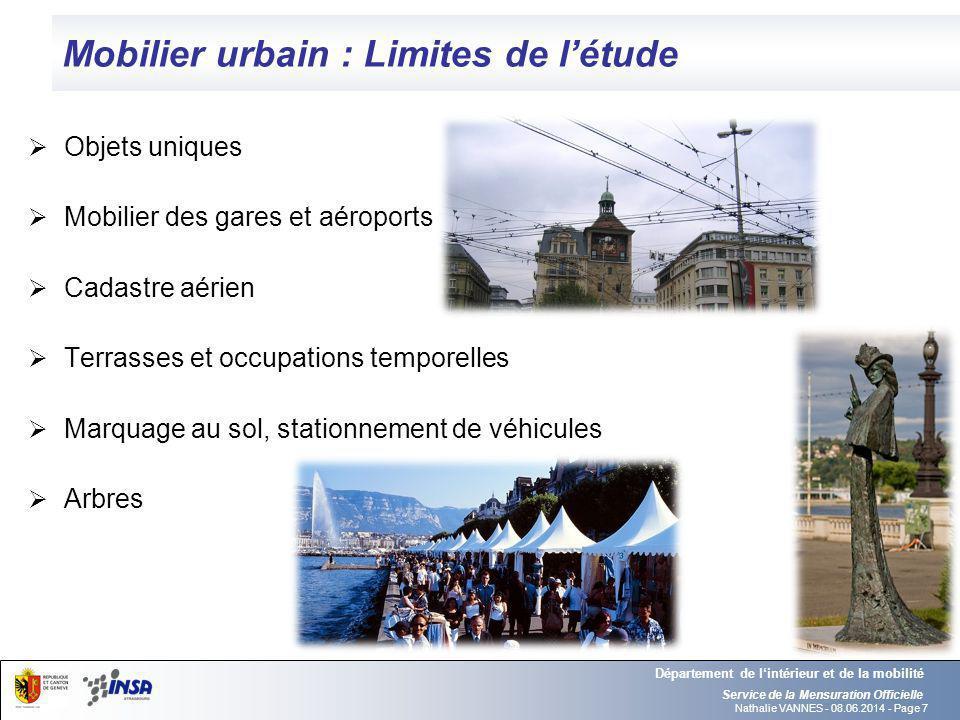 Nathalie VANNES - 08.06.2014 - Page 7 Mobilier urbain : Limites de létude Service de la Mensuration Officielle Département de lintérieur et de la mobi