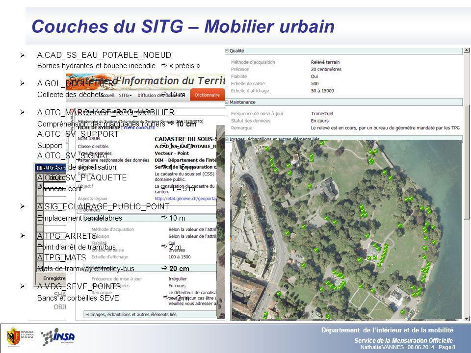 Nathalie VANNES - 08.06.2014 - Page 8 Couches du SITG – Mobilier urbain Service de la Mensuration Officielle Département de lintérieur et de la mobili