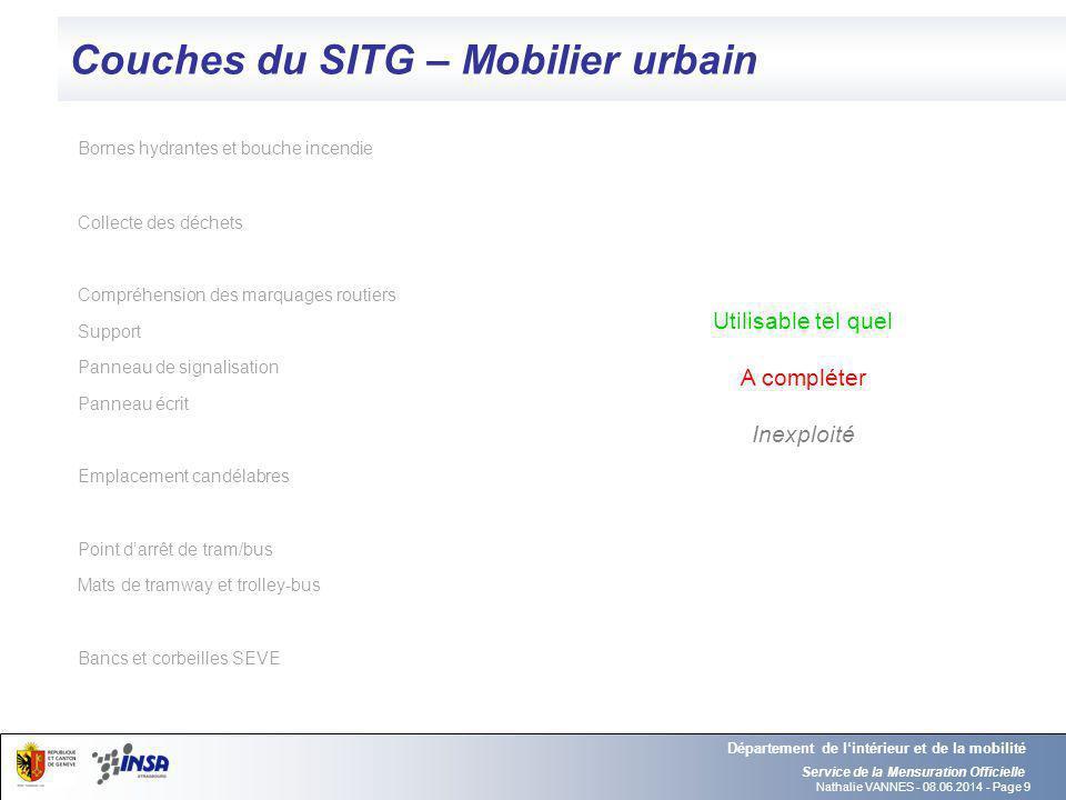 Nathalie VANNES - 08.06.2014 - Page 9 Couches du SITG – Mobilier urbain Service de la Mensuration Officielle Département de lintérieur et de la mobili