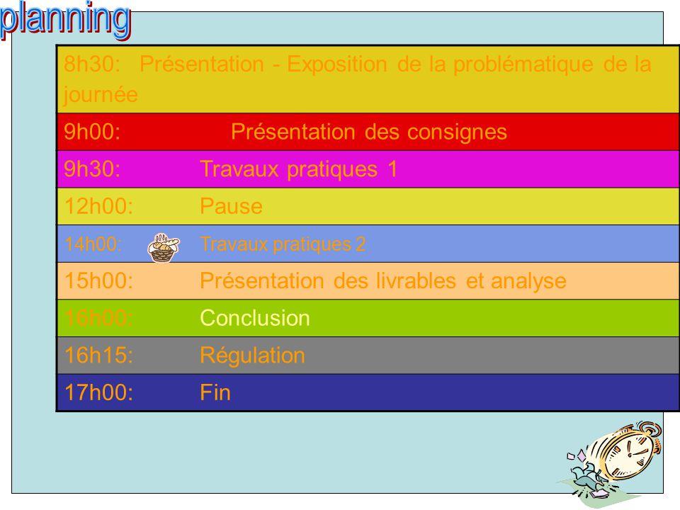 8h30: Présentation - Exposition de la problématique de la journée 9h00: Présentation des consignes 9h30: Travaux pratiques 1 12h00: Pause 14h00: Travaux pratiques 2 15h00: Présentation des livrables et analyse 16h00: Conclusion 16h15: Régulation 17h00: Fin