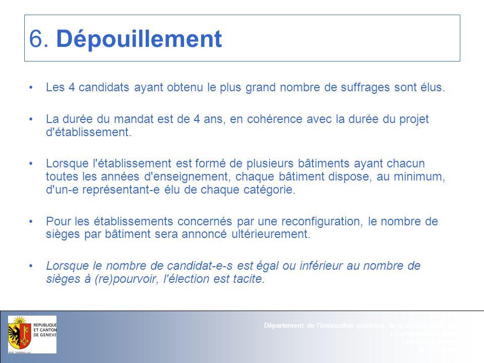 25.01.12 - Page 13 Département de l instruction publique, de la culture et du sport Enseignement primaire Direction générale 6.