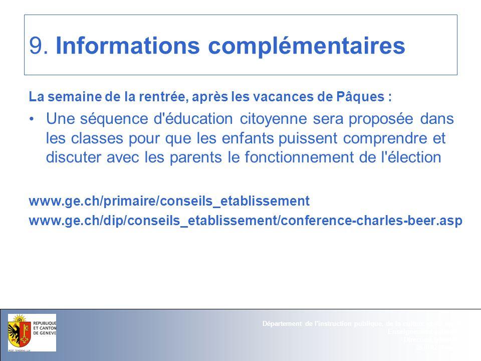 25.01.12 - Page 16 Département de l instruction publique, de la culture et du sport Enseignement primaire Direction générale 9.