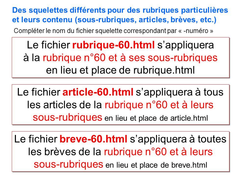 Le fichier rubrique-60.html sappliquera à la rubrique n°60 et à ses sous-rubriques en lieu et place de rubrique.html Le fichier rubrique-60.html sappliquera à la rubrique n°60 et à ses sous-rubriques en lieu et place de rubrique.html Le fichier article-60.html sappliquera à tous les articles de la rubrique n°60 et à leurs sous-rubriques en lieu et place de article.html Le fichier breve-60.html sappliquera à toutes les brèves de la rubrique n°60 et à leurs sous-rubriques en lieu et place de breve.html Des squelettes différents pour des rubriques particulières et leurs contenu (sous-rubriques, articles, brèves, etc.) Compléter le nom du fichier squelette correspondant par « -numéro »