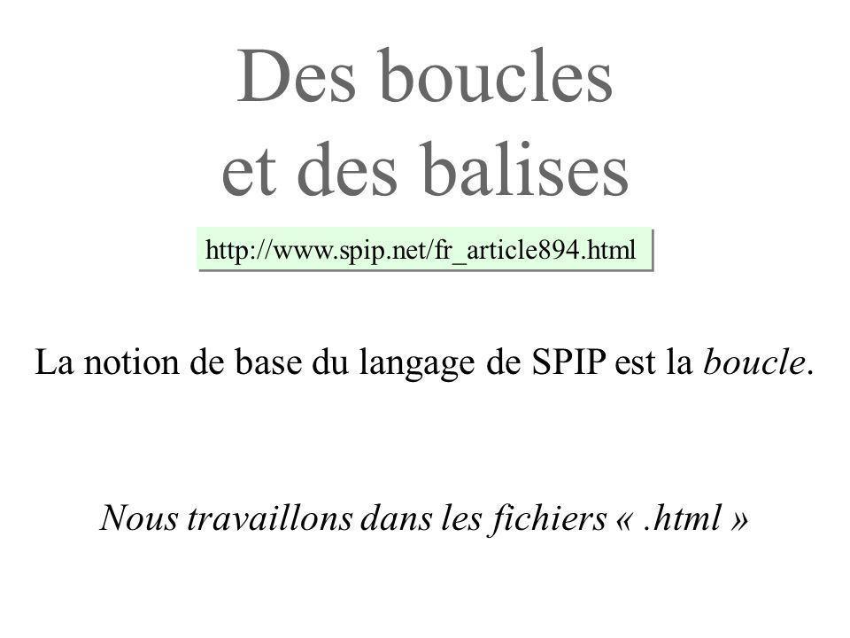 Des boucles et des balises Nous travaillons dans les fichiers «.html » La notion de base du langage de SPIP est la boucle.