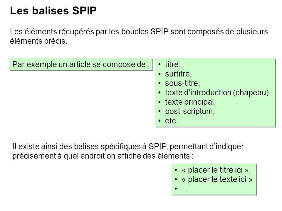 Il existe ainsi des balises spécifiques à SPIP, permettant dindiquer précisément à quel endroit on affiche des éléments : Les balises SPIP Les éléments récupérés par les boucles SPIP sont composés de plusieurs éléments précis.