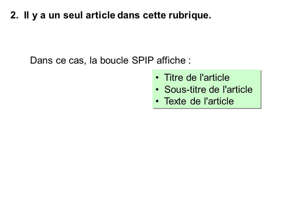 Titre de l'article Sous-titre de l'article Texte de l'article Titre de l'article Sous-titre de l'article Texte de l'article 2. Il y a un seul article