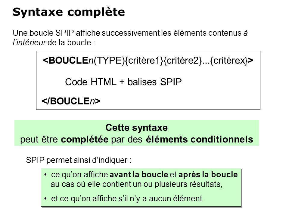 Une boucle SPIP affiche successivement les éléments contenus à lintérieur de la boucle : Syntaxe complète ce quon affiche avant la boucle et après la boucle au cas où elle contient un ou plusieurs résultats, et ce quon affiche sil ny a aucun élément.