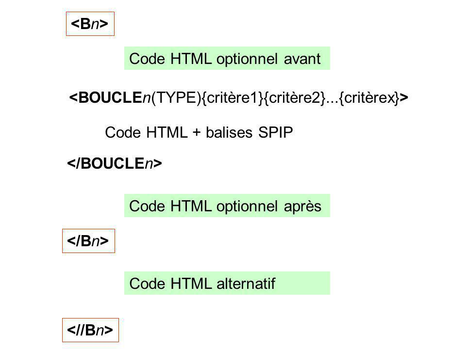 Code HTML + balises SPIP Code HTML optionnel avant Code HTML optionnel après Code HTML alternatif