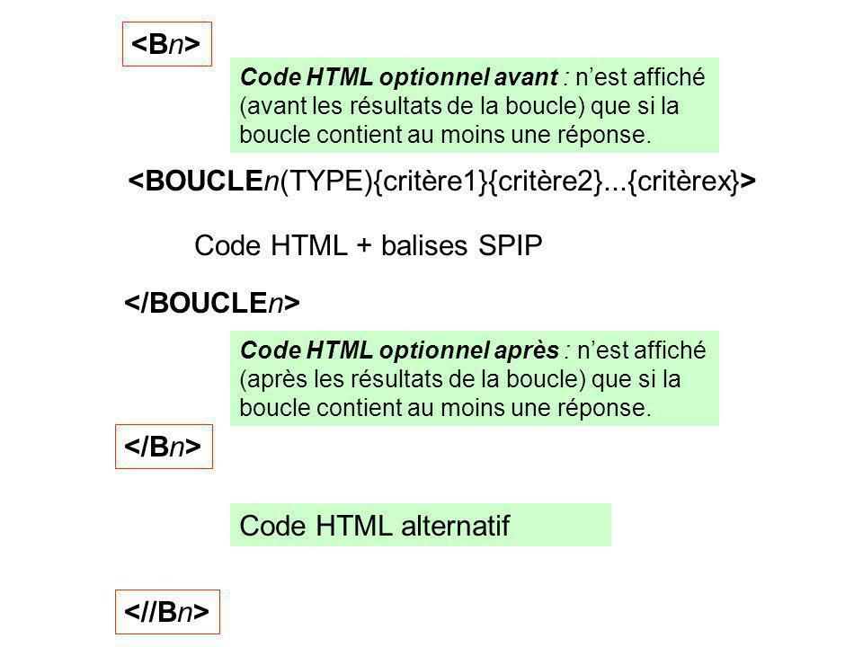 Code HTML + balises SPIP Code HTML optionnel avant : nest affiché (avant les résultats de la boucle) que si la boucle contient au moins une réponse.