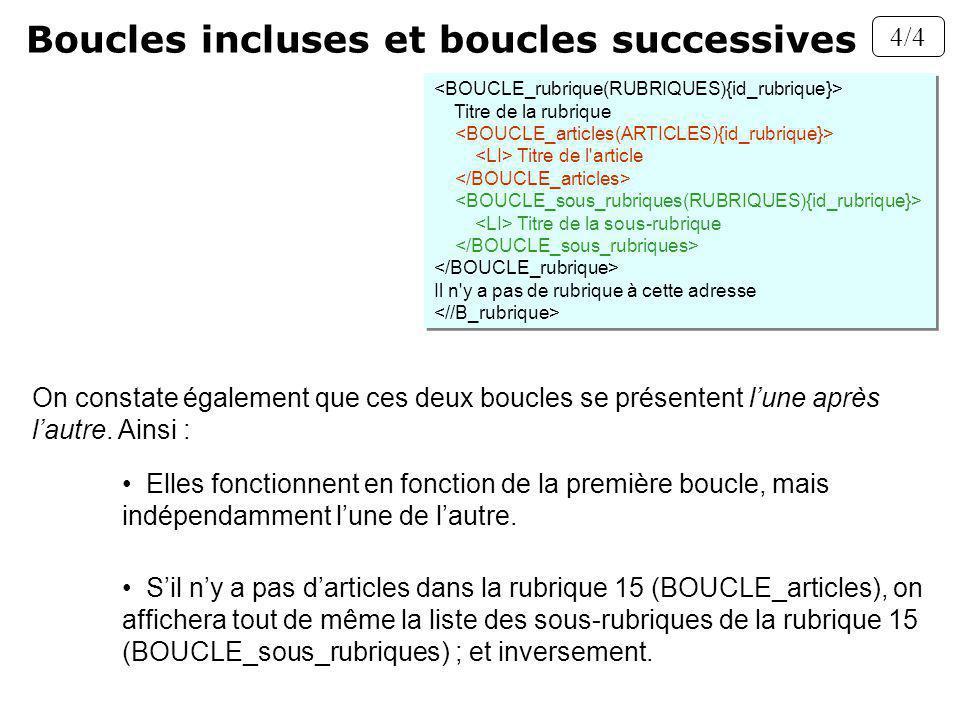 Boucles incluses et boucles successives 4/4 Sil ny a pas darticles dans la rubrique 15 (BOUCLE_articles), on affichera tout de même la liste des sous-rubriques de la rubrique 15 (BOUCLE_sous_rubriques) ; et inversement.