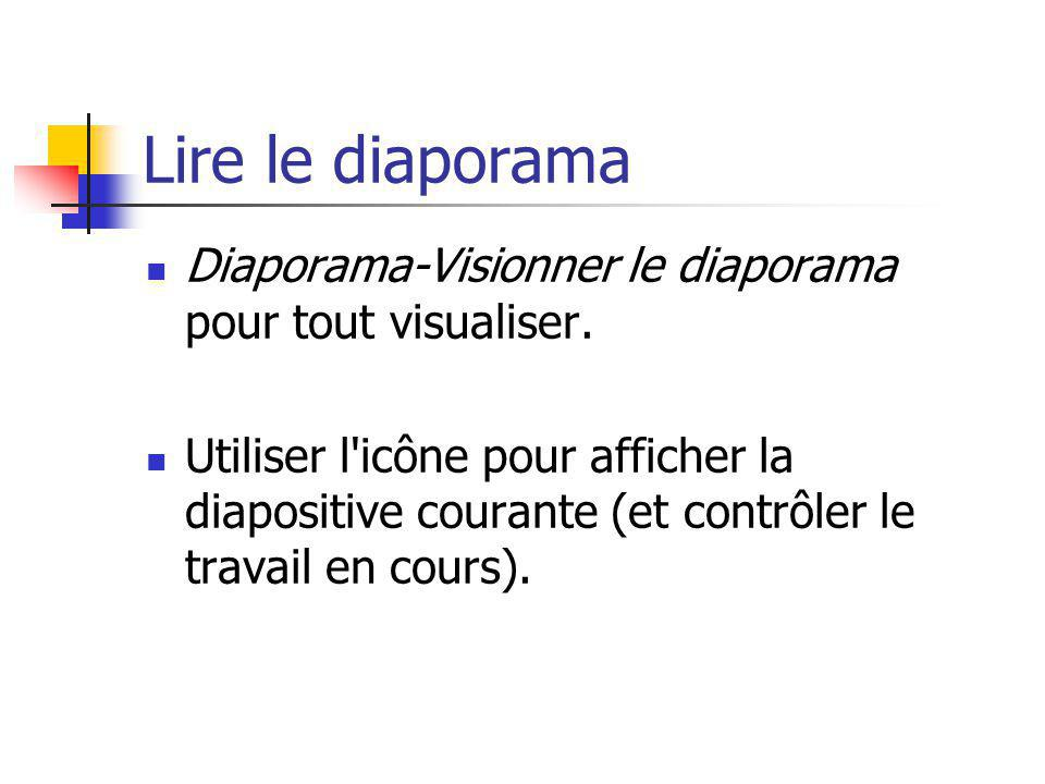 Lire le diaporama Diaporama-Visionner le diaporama pour tout visualiser. Utiliser l'icône pour afficher la diapositive courante (et contrôler le trava