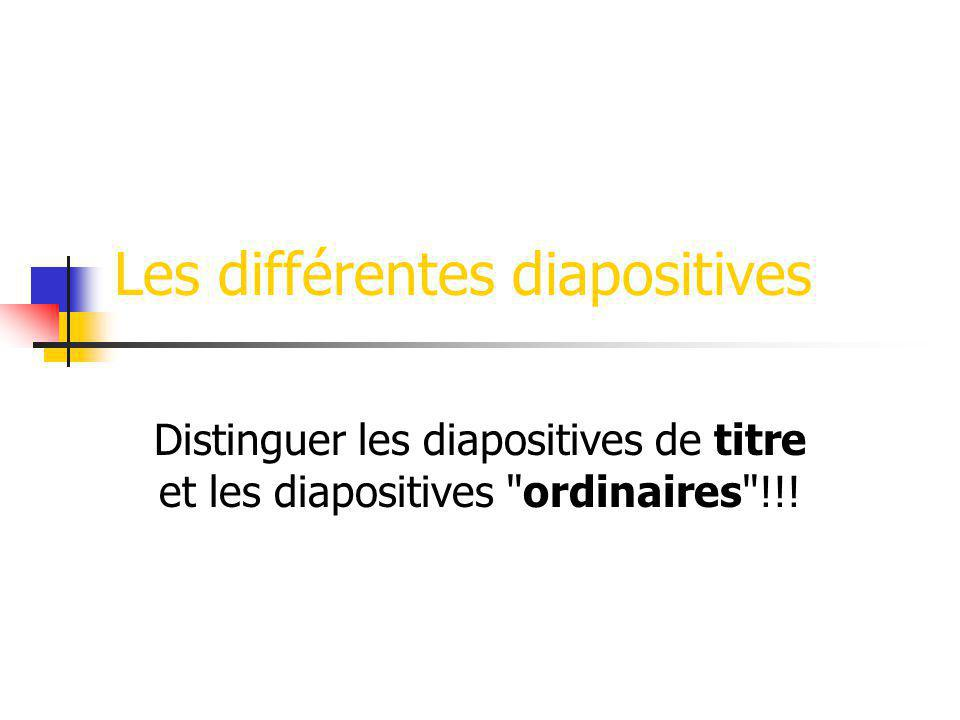Les différentes diapositives Distinguer les diapositives de titre et les diapositives