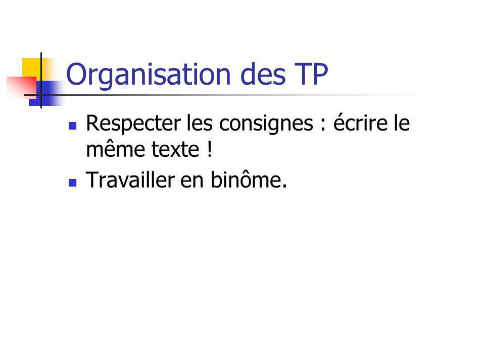 Organisation des TP Respecter les consignes : écrire le même texte ! Travailler en binôme.