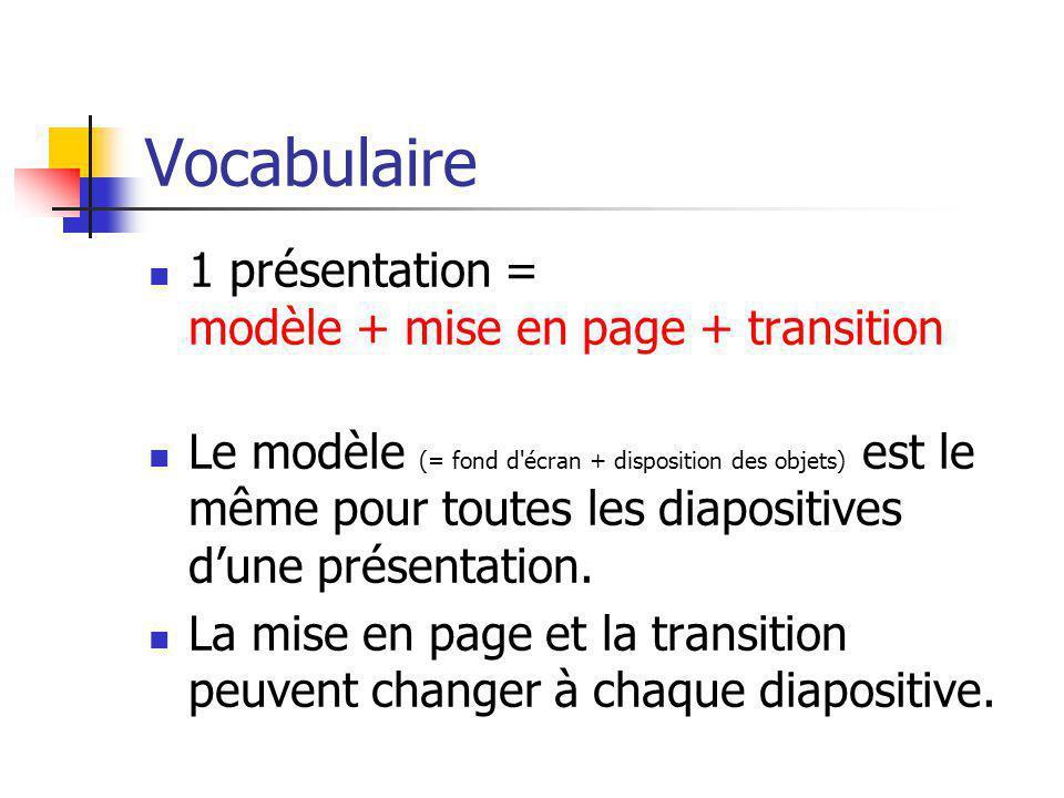Vocabulaire 1 présentation = modèle + mise en page + transition Le modèle (= fond d'écran + disposition des objets) est le même pour toutes les diapos