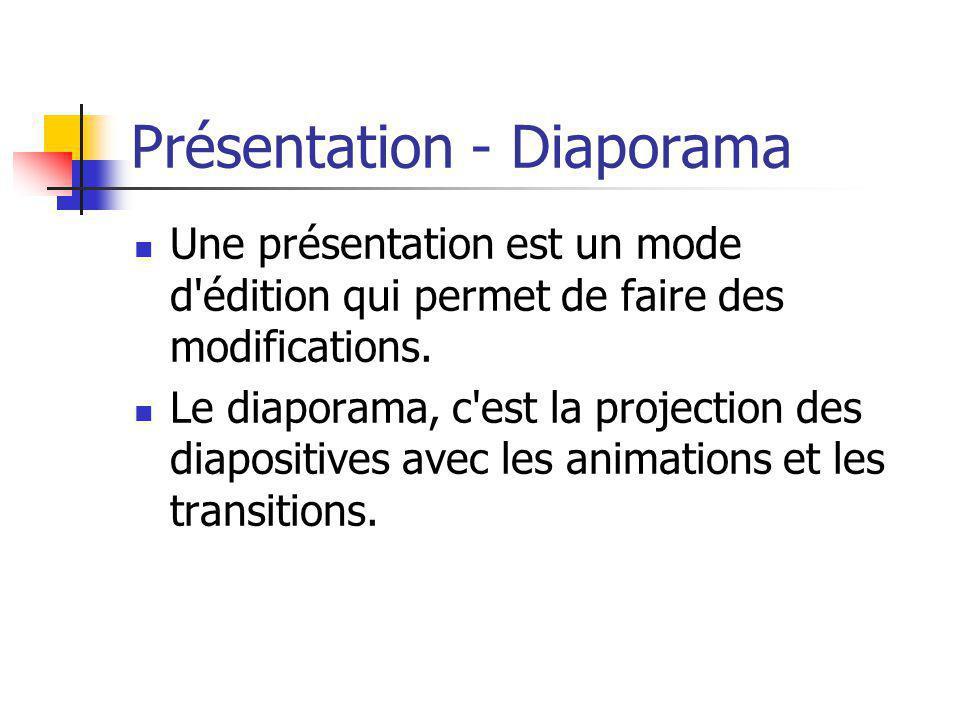 Présentation - Diaporama Une présentation est un mode d'édition qui permet de faire des modifications. Le diaporama, c'est la projection des diapositi