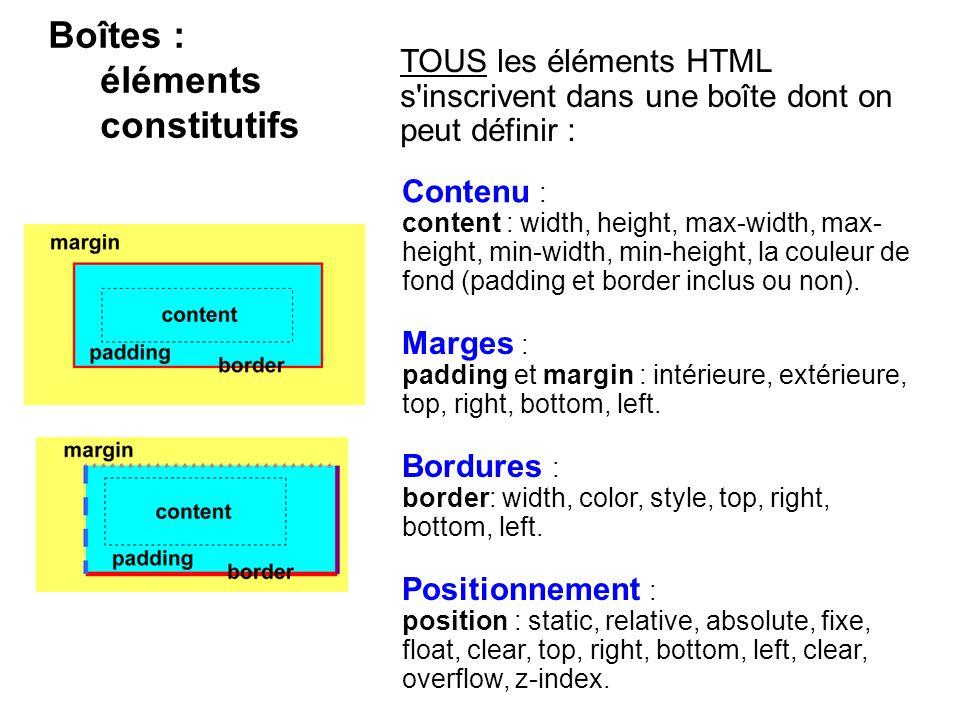Boîtes : éléments constitutifs TOUS les éléments HTML s'inscrivent dans une boîte dont on peut définir : Contenu : content : width, height, max-width,