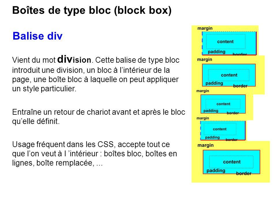 Balise div Vient du mot div ision. Cette balise de type bloc introduit une division, un bloc à lintérieur de la page, une boîte bloc à laquelle on peu