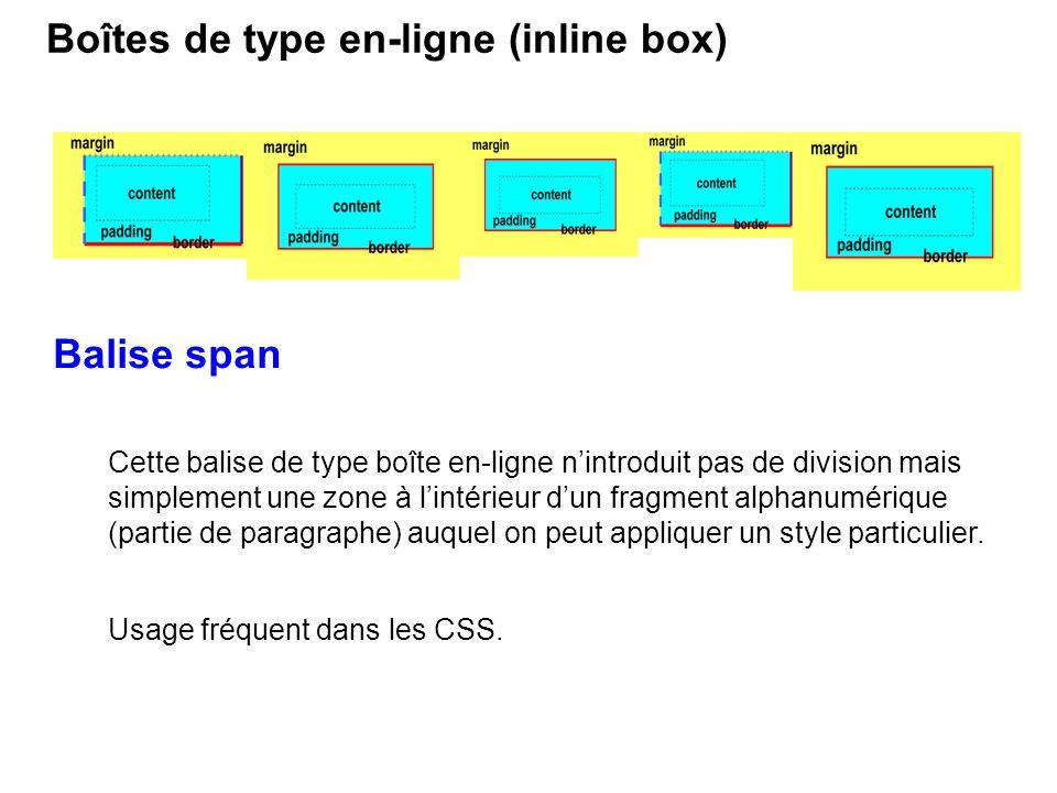 Balise span Cette balise de type boîte en-ligne nintroduit pas de division mais simplement une zone à lintérieur dun fragment alphanumérique (partie d