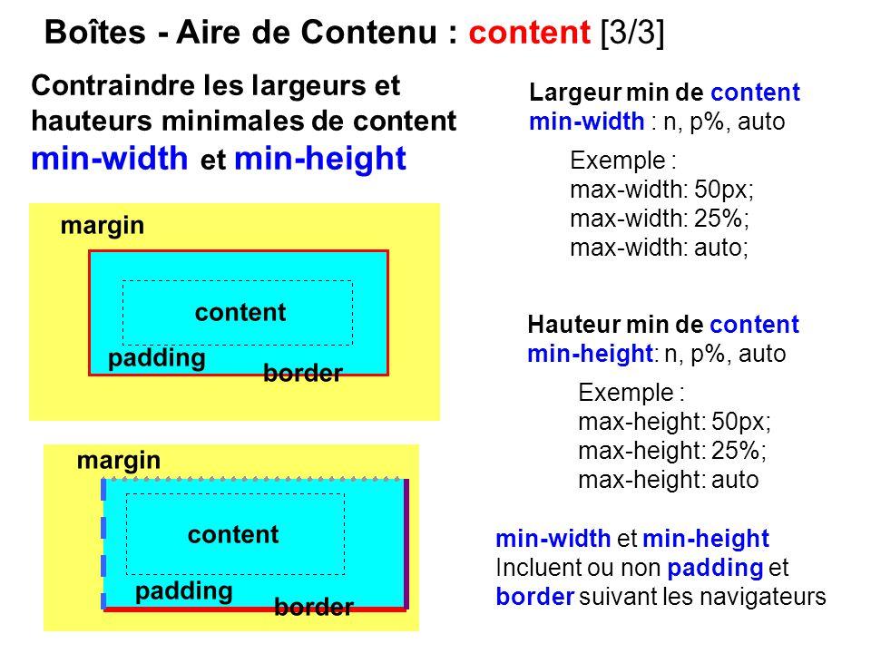Boîtes - Aire de Contenu : content [3/3] Largeur min de content min-width : n, p%, auto Hauteur min de content min-height: n, p%, auto Exemple : max-w