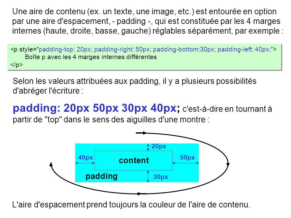 Une aire de contenu (ex. un texte, une image, etc.) est entourée en option par une aire d'espacement, - padding -, qui est constituée par les 4 marges