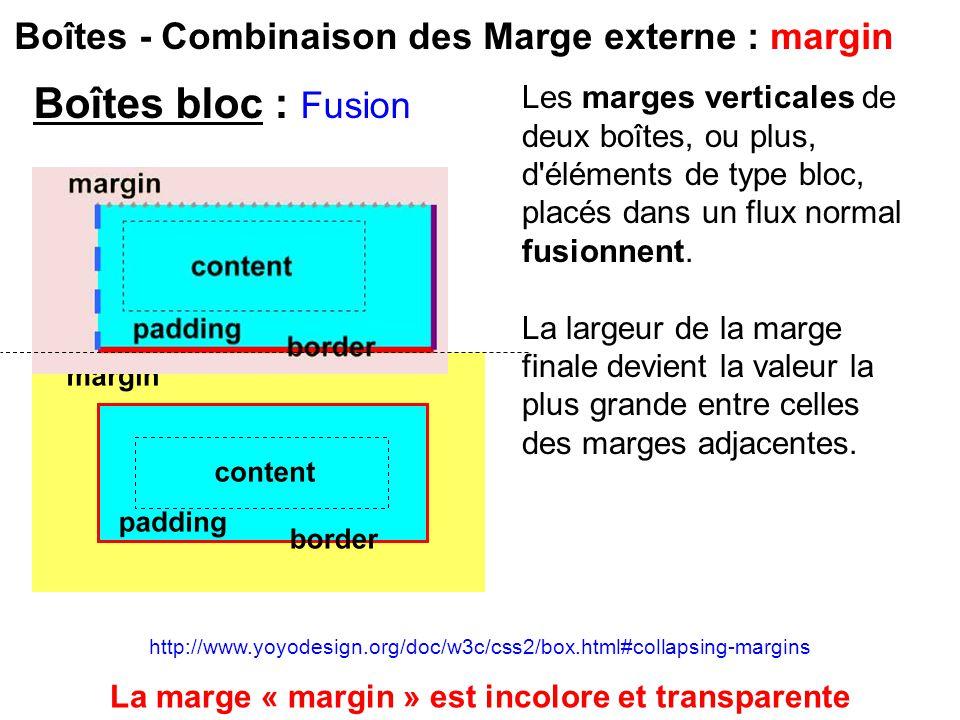 Boîtes - Combinaison des Marge externe : margin Les marges verticales de deux boîtes, ou plus, d'éléments de type bloc, placés dans un flux normal fus