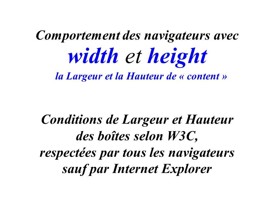 Conditions de Largeur et Hauteur des boîtes selon W3C, respectées par tous les navigateurs sauf par Internet Explorer width et height Comportement des