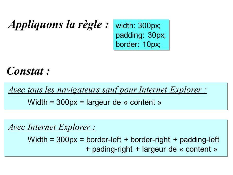 width: 300px; padding: 30px; border: 10px; width: 300px; padding: 30px; border: 10px; Appliquons la règle : Avec tous les navigateurs sauf pour Intern