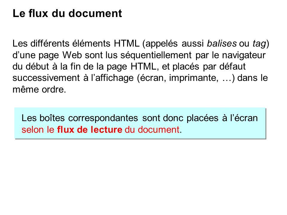 Le flux du document Les différents éléments HTML (appelés aussi balises ou tag) dune page Web sont lus séquentiellement par le navigateur du début à l
