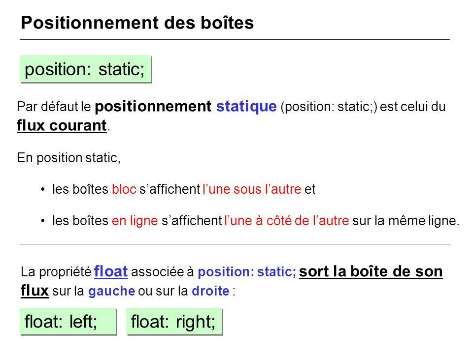 Par défaut le positionnement statique (position: static;) est celui du flux courant. En position static, les boîtes bloc saffichent lune sous lautre e