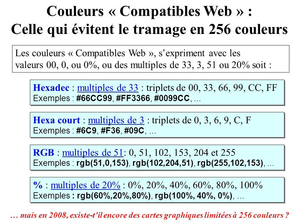 Couleurs « Compatibles Web » : Celle qui évitent le tramage en 256 couleurs Les couleurs « Compatibles Web », sexpriment avec les valeurs 00, 0, ou 0%