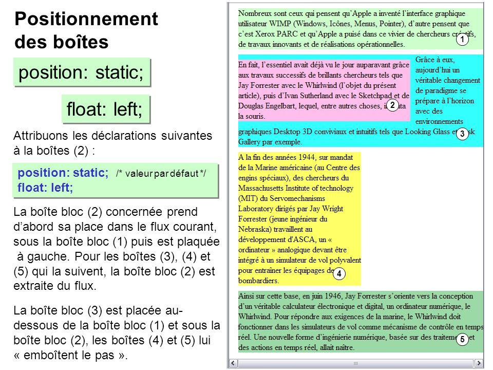 Attribuons les déclarations suivantes à la boîtes (2) : Positionnement des boîtes position: static; float: left; position: static; /* valeur par défau