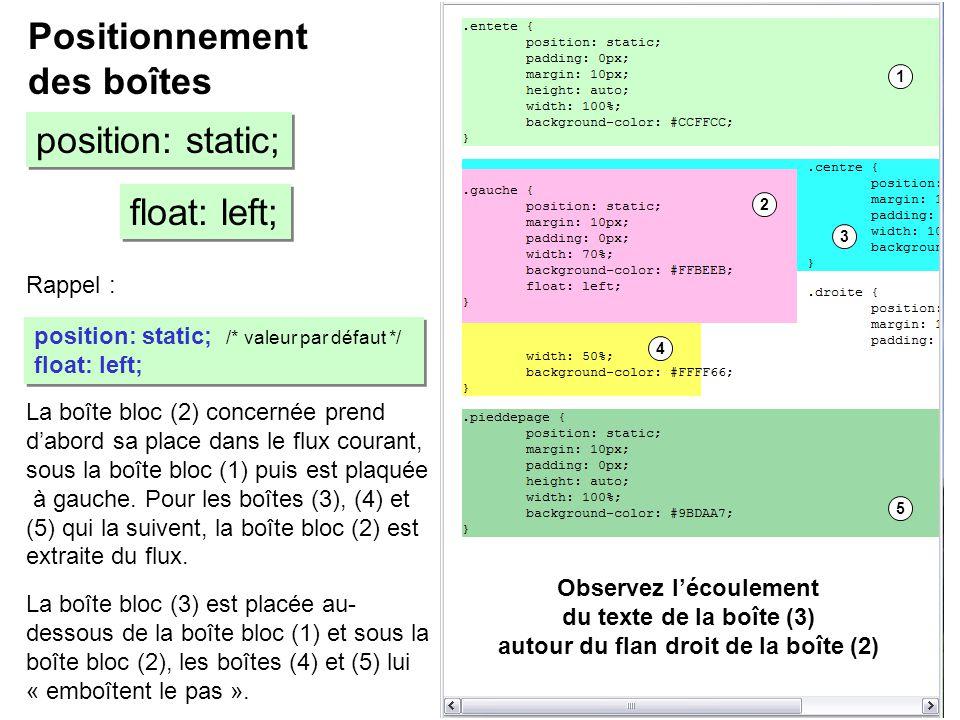 Rappel : Positionnement des boîtes position: static; float: left; position: static; /* valeur par défaut */ float: left; position: static; /* valeur p