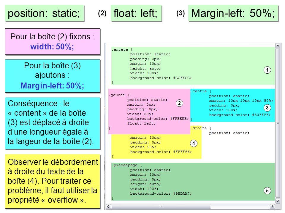 position: static; float: left; Margin-left: 50%; (2)(3) Pour la boîte (2) fixons : width: 50%; Pour la boîte (3) ajoutons : Margin-left: 50%; Conséque