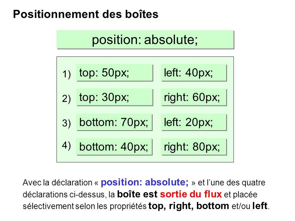 Positionnement des boîtes position: absolute; Avec la déclaration « position: absolute; » et lune des quatre déclarations ci-dessus, la boîte est sort
