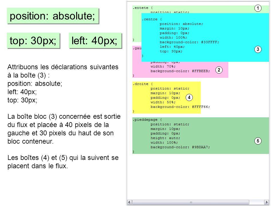 top: 30px; left: 40px; position: absolute; Attribuons les déclarations suivantes à la boîte (3) : position: absolute; left: 40px; top: 30px; La boîte