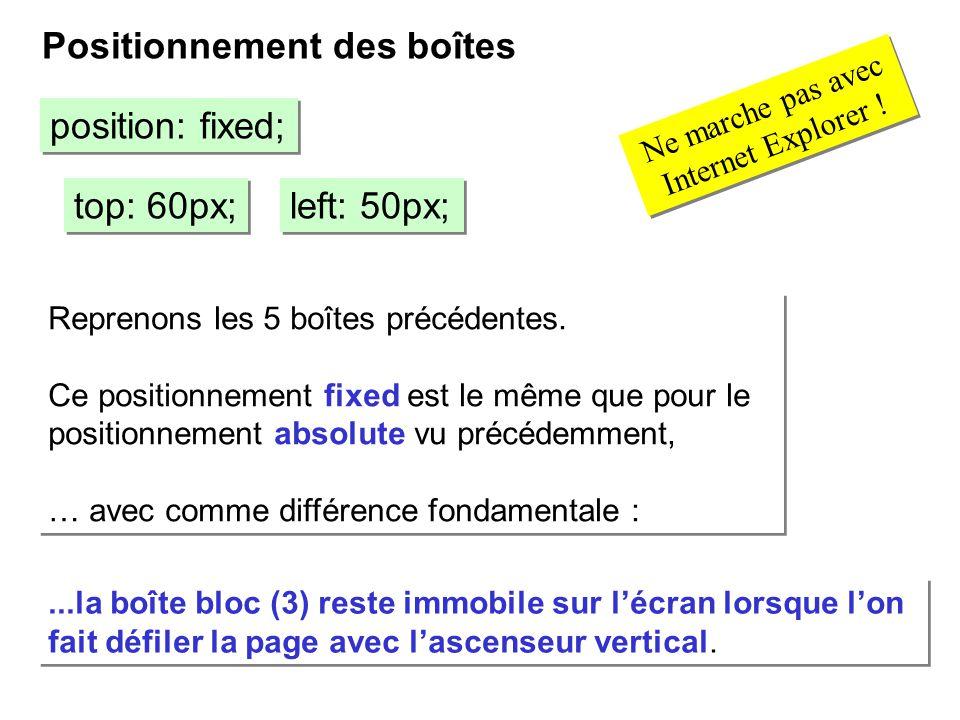 Positionnement des boîtes position: fixed; top: 60px; left: 50px; Reprenons les 5 boîtes précédentes. Ce positionnement fixed est le même que pour le
